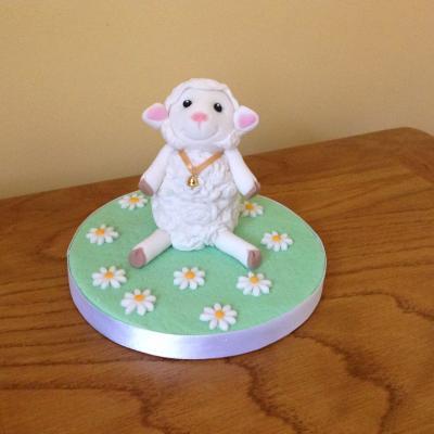 Baby Lamb Sheep Christening Cake Topper