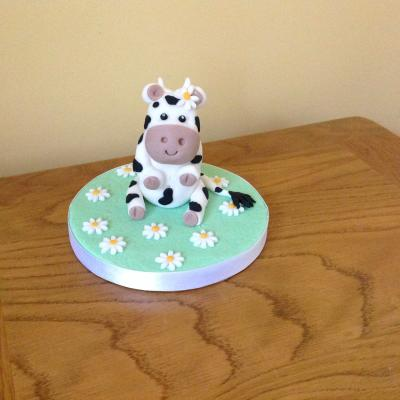 Baby Cow Christening Birthday Cake Topper