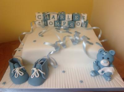 Baby Name Blocks Baby Shoes and Teddy Cake