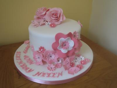 Pink Roses and Flowers Birthday Cake