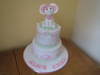 Pink and Mint Green Elephant Christening Cake