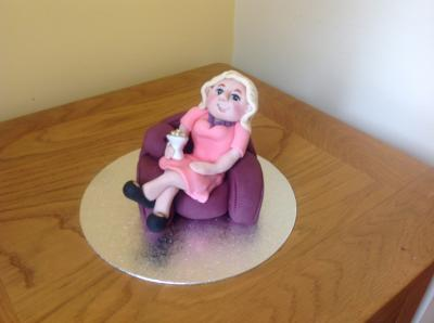 Old Lady In her Chair Cake Topper
