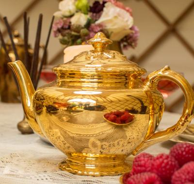 Wedding Yurts Props - Gold Teapot