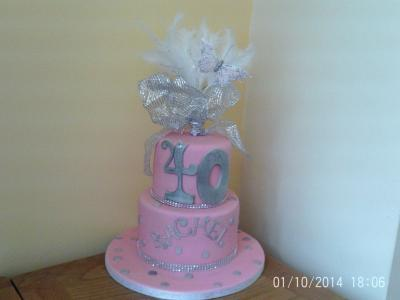 Pink and Silver 40th Birthday Cake