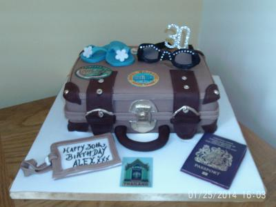 Suitcase 30th Birthday Cake