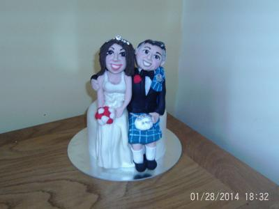 Scottish Wedding Bride and Groom Cake Topper