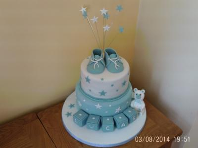 Baby Boys Bootees Christening Cake