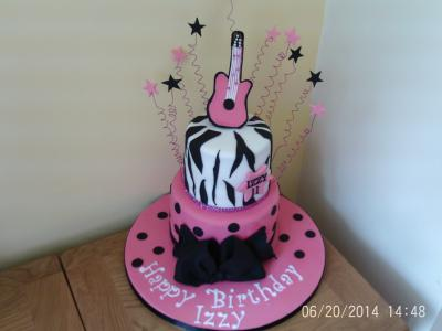 Rock and Roll Guitar Leopard Print Cake