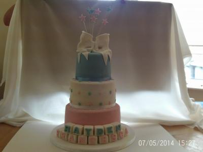 Baby Girl And Baby Boy Christening Cake