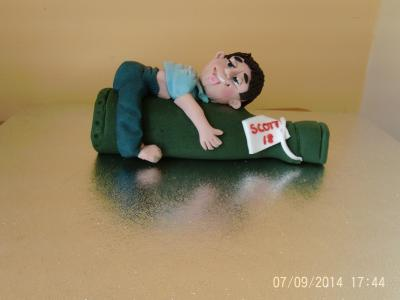 Drunken Man on Beer Bottle Cake Topper