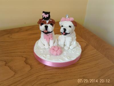 Bride and Groom Bulldogs Wedding Cake Topper