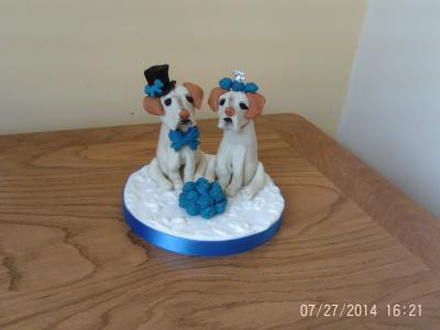 Bride and Groom Labradors Wedding Cake Topper