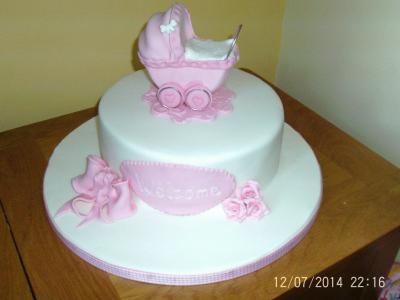 Pink Pram Baby Shower Cake