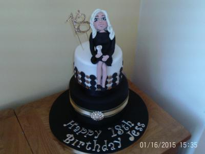 Ladies 18th Black Gold Birthday Cake