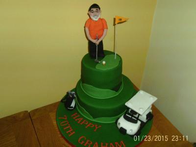 Golfer 2 Tiered Cake