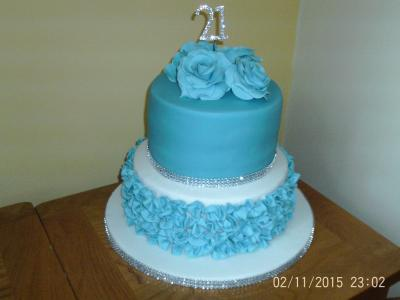 21st Roses and Ruffles Birthday Celebration Cake