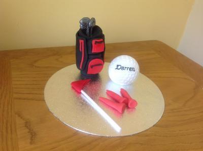 Golf Bag Golf Ball Flag and Golf Tees Cake Topper
