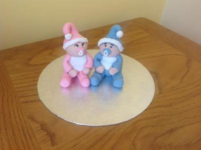 Babies in Hats and Bibs Cake Toppers