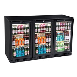 Blizzard Hinged Triple Door Bar Bottle Cooler in Black