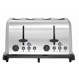 Bartscher Brushed Stainless Steel 4 Slot Semi Commercial Toaster