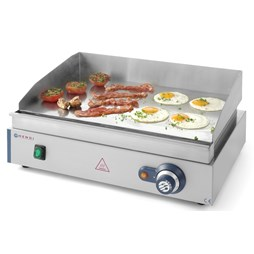 Hendi 550mm Smooth Chrome Plate Commercial Electric Griddle. Blue Line 203200