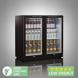 Husky C2 Premium Double Door Bottle Cooler Back Bar Cabinet - Black - Hinged Doors