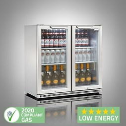 Husky C2 Premium Double Door Bottle Cooler Back Bar Cabinet - Grey - Silver Sliding Doors
