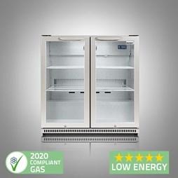 Husky C2 Premium Double Door Bottle Cooler Back Bar Cabinet - Grey - Silver Hinged Doors