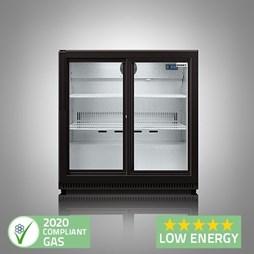 Husky C2 Premium Double Door Bottle Cooler Back Bar Cabinet - Black Sliding Doors