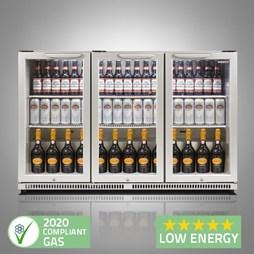 Husky C3 Premium Triple Door Bottle Cooler Back Bar Cabinet - Grey - Silver Hinged Doors