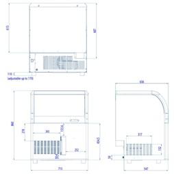 Interlevin Aquarius 102kg per Day Ice Machine 34kg Storage Bin