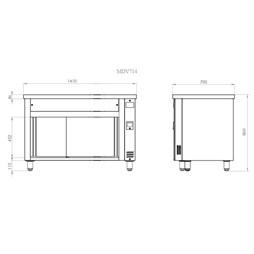 Inomak Stainless Steel Bain Marie + Ambient Base Cupboard MDV714