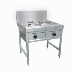 Gastrotek 40kW Stainless Steel Commercial 2 Burner Gas Wok LPG or Natural Gas