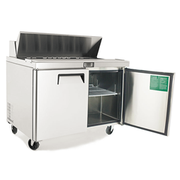 Refrigerated Sandwich & Pizza Prep Counter with 2 Doors & 6 of 1/3 GN Pans/Lids