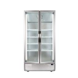 Husky 728 Litre PRO Double Glass Door Display Fridge Chiller White 8 Shelves