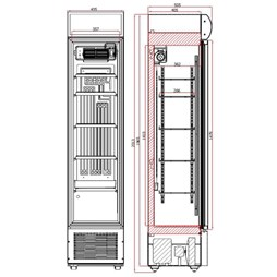 Tefcold Slimline Commercial Glass Door Display Fridge With Canopy Black FSC175HB