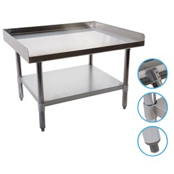 Quattro 600mm Stainless Steel Equipment Table Stand with 3 Side Turnup