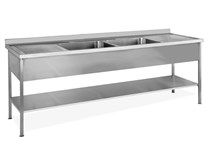 2000mm Twin Centre Bowl Stainless Steel Sink Double Drainer Quattro CS