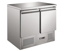 Ice-A-Cool ICE3801GR - 2 Door Refrigerated Prep Counter Solid Top S901
