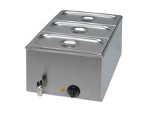 Wet Bain Marie with Drain Tap and 3 x 1/3 GN Pans
