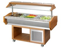 Blizzard Refrigerated Salad Bar WIth 4 x 1-1 GN Size Top, Illuminated Canopy Plus Sneeze Screen