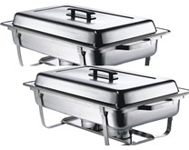 Quattro Twin Pack Chafing Dish Set Stainless Steel With Black Handles