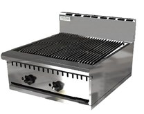 Chef King Imperial 24 inch Lava Rock Gas Chargrill - Charbroiler Heavy Duty 2 Burner 615mm Wide