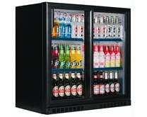Double Door Bottle Cooler Back Bar Fridge with Sliding Doors in Black