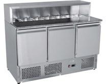Ice-A-Cool ICE3854GR 3 Door Pizza - Sandwich Prep Granite Top Inc Free GN Pans