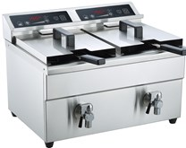 Gastrotek 2 x 8  Litre Induction Catering Fryer With Drain Tap - Precision Control