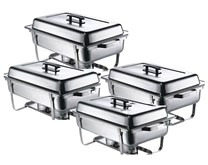 Quattro Four Pack Chafing Dish Set  4 x 1-1 Chafers