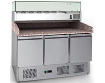 Combisteel Ecofrost Granite Top Pizza Prep 3 Door Counter + 1400mm Topping Unit