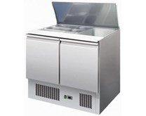 Ice-A-Cool 2 Door Refrigerated Saladette FREE GN Pans & Lids - ICE3800GR