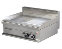 Italinox Arisco Gas Griddle - 2 Burner 800m Mirror Finish Ribbed and Flat Top